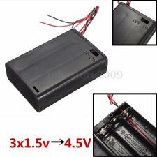 4.5V Battery Holder Snap Connector Enclosed Box ON/OFF Power Switch Wire 3 x AA