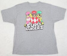 T-Shirt Gray Cotton Poly Mens 2XL Tee XXL Super Mario Brothers Power Rangers Man
