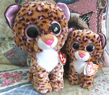 "HTF Patches Ty Beanie Boos Buddy 6"" & 9"" Glitter Eyes Leopard Cat  MWMT  FREE SH"