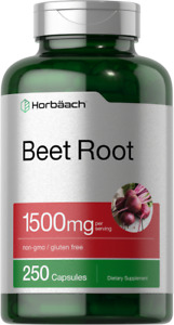 Beet Root Powder Capsules 1500mg   250 Pills    Herbal Extract   by Horbaach