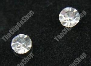 CLIP ON magnetic DIAMANTE 4mm crystal studs RHINESTONE EARRINGS non-pierced