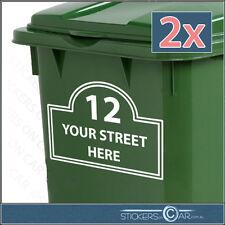 2 x LARGE WHEELIE BIN CUSTOM STICKERS House Number & Street Name Address Decals