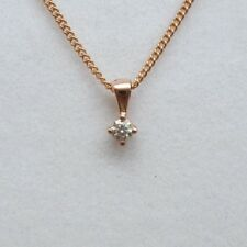 Brand New 9ct Rose Gold Diamond Solitaire Pendant/Necklace £95 Freepost