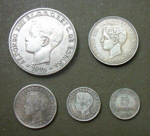 ALFONSO XIII - PESO, 40, 20, 10, 5 Centavos 1895-1896 PUERTO RICO - CONDITION!