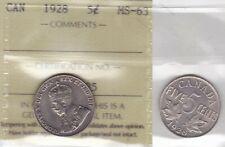 1928 ICCS MS63 5 cents Canada five nickel