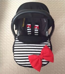 BLACK WHITE STRIPES RED CAR SEAT APRON HARNESS COVERS PADDED BOW UNIVERSAL NEW