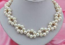 "18""L 8-9mm Akoya South sea White Pearl Necklace 14k Gold Clasp"