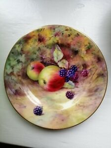 Royal Worcester small plate , fallen fruit , C1924 and signed G.Moseley .