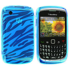 Blue TPU Zebra Skin Case Cover for Blackberry Curve 8520 8530 3G 9300 9330