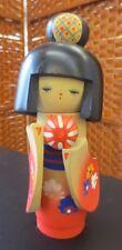 "Vintage Wooden Kokeshi Geisha Temari Ball Red Kimono 7"" Doll"