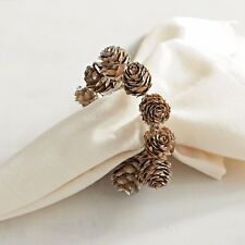 Set of 4 Pier 1 Christmas Thanksgiving Pine Cone Pinecones Napkin Ring  SOLD OUT