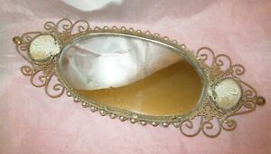 Vintage Vanity Tray Oval Ornate Gold Ormolu w White Beads Velvet Lace End Handle