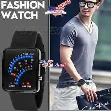 Women Men Futuristic Japanese Style Silicone Multicolor LED Sport Wrist Watch US