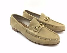$1650 GUCCI BOYS BEIGE LEATHER LOAFERS SLIP ON ITALY HORSEBIT DRESS GG SHOES 6.5