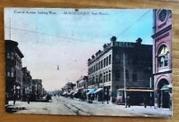 Fred Harvey Albuquerque, New Mexico Hand Colored Postcard PM 1913 Street Scene