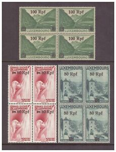 Luxembourg (German Occupation) 1940 60, 80, 100Rpf UM/MNH blocks of 4 SG426-428