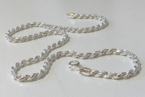 """Italian Solid Sterling Silver Diamond Cut Rope Chain - Width 4mm, 18"""" to 24"""""""