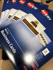 """Lot Of 5pk (1 Case) Avery Laser Microperforated Business Cards 2"""" x 3 1/2"""" White"""