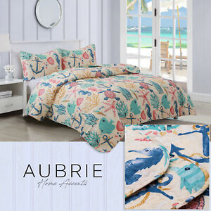 Twin, Full/Queen, or King Nautical Beach Quilt Bedding Set, Tan Blue Red