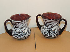 Spatter Glass Brown n white Sugar and Creamer 3 inches high  (9900)
