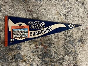 Rare - Full Size 1969 New York Mets World Champion Pennant Excellent Condition