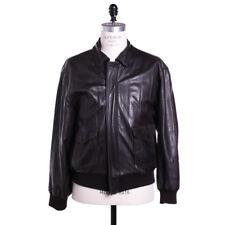 Polo Ralph Lauren Leather Bomber Jacket Size L Dark Brown Vintage