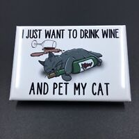Funny Black Cat and Wine Magnet Handmade Kitty Gifts and Kitchen Decor