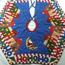Vintage Quilted Christmas Tree Skirt Santa Moon Houses Ho Ho Ho Cute Primitive