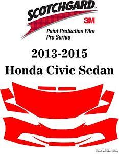 3M Scotchgard Paint Protection Film Pro Series Fits 2013 2015 Honda Civic Sedan