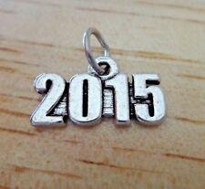 PEWTER 17x9mm Silver Birth Anniversary Graduation Wedding Date 2015 Year Charm
