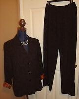 Chico's Career Brown Tweed Blazer/Jacket Pants Suit Set Size 1 (M) 8/10