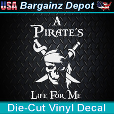 Vinyl Decal.. A PIRATE'S LIFE For Me  .. Pirate Skull Car Laptop Sticker Decal