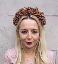 Brown Rose Flower Headband Hair Crown Headpiece Festival Boho Bridesmaid 4431