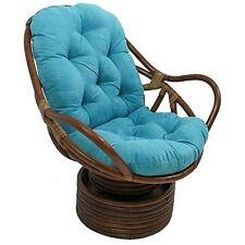 International Caravan Rattan Swivel RockerW/Micro Suede Cushion Aqua Blue  NEW