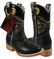 Kid's Rodeo Boots El General Crazy Leather Black/Brown