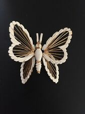 Monet White Gold Tone Butterfly Filigree Brooch / Pin Vintage Bug Animal