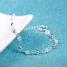 New Women 925 Sterling Silver Crystal Chain Bangle Cuff Charm Bracelet Jewelry