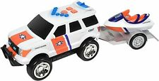 Fire and Rescue Trailers – Lights and Sounds Pull Back Toy Vehicle with Friction