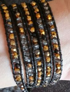 """Victoria Emerson Gold Clear & Black on Brown Leather Wrap Bracelet 32"""" 5"""""""