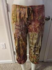 WOMENS WEEKEND MAX MARA BEIGE FLORAL CARGO CAPRI PANTS W/ANKLE STRAPS SIZE 24