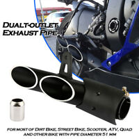 51mm Universal Motorcycle Aluminum Dual-outlet Exhaust TailPipe for Yamaha Honda