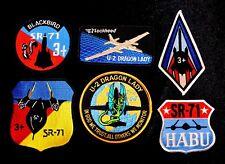6 x USAF SR-71 and U-2 aircraft patches.  Blackbird, Dragon Lady, CIA, Cold War