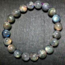 10mm Genuine Natural Labradorite Strong Blue Light Cat eye Beads Bracelet