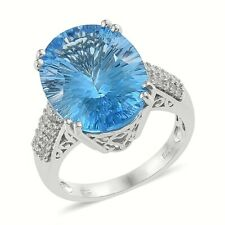 Natural Swiss Blue Topaz Ring,Platinum Over Sterling Silver(Size 7) 18.42 ctw