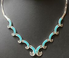 "Sterling Silver 18.75"" Turquoise & Marcasite Collarette Necklace (10mm Widest)"
