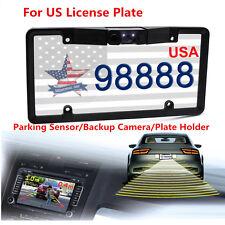 Car License Plate Frame + Parking Sensor Radar Backup Camera Night Vision For US