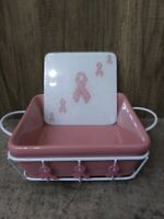 Temp-Tations PINK RIBBONS 3 piece Square Baking Dish w/Trivet & Metal Holder NEW