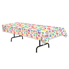 70th Celebration Plastic Table Cover - Birthday Tableware - Party Decorations