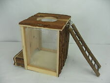 Natural Wooden Burrow & Play Tower for burrowing animals Mice Gerbils Hamsters