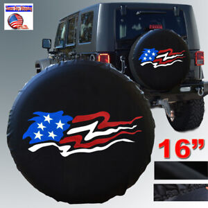 """16"""" BLACK SPARE WHEEL TIRE COVER American Flag For Jeep Liberty Wrangler size L"""